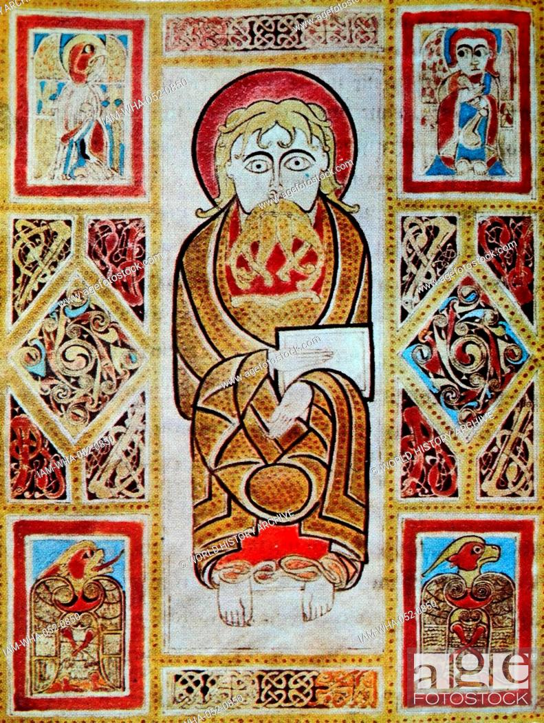 Fresco Titled Mark The Evangelists Symbols Dated 8th Century