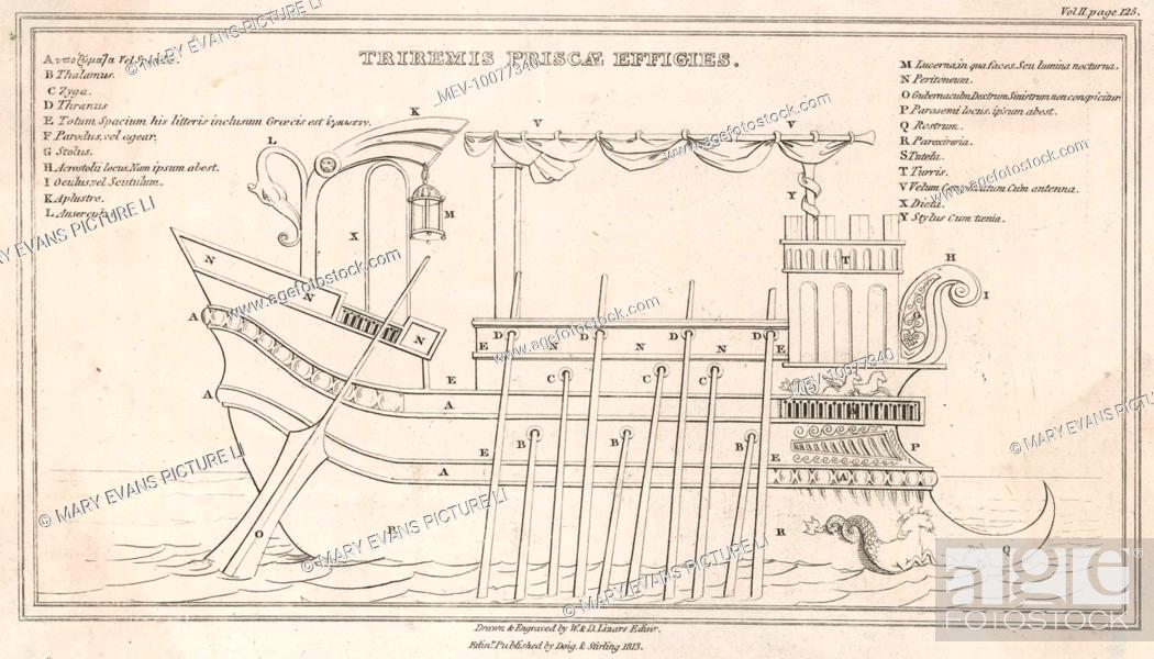 A diagram of a greek trireme showing the various sections stock stock photo a diagram of a greek trireme showing the various sections ccuart Image collections