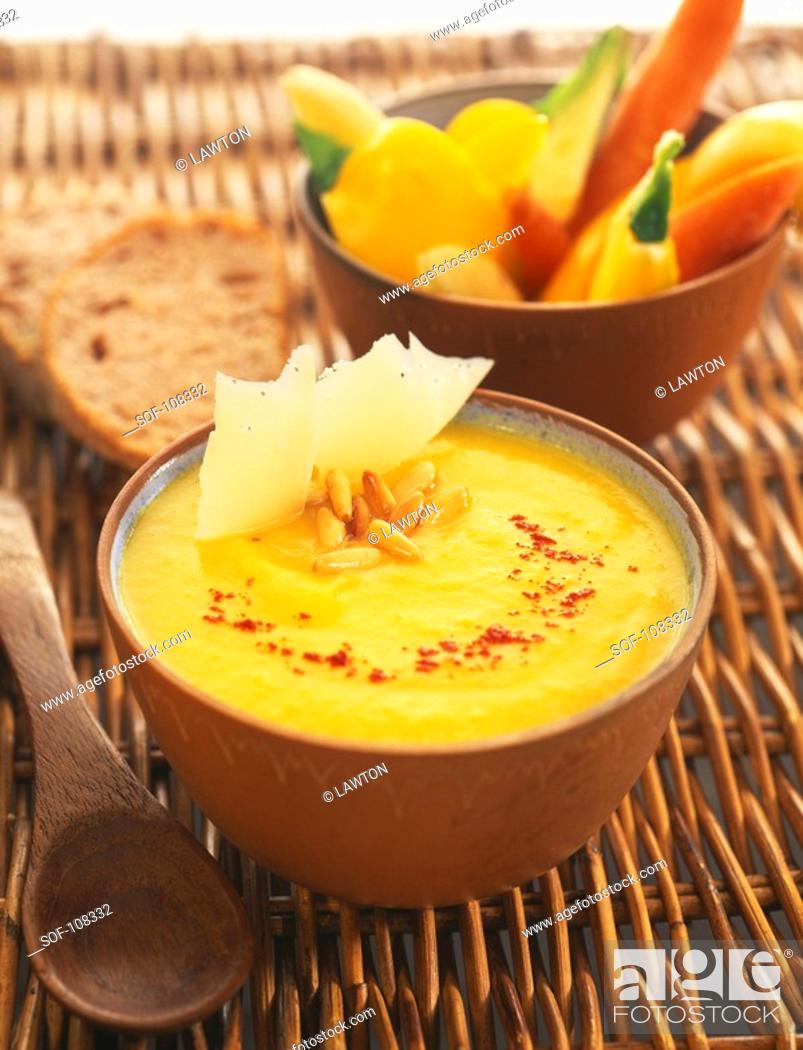 Stock Photo: Yellow pepper soup.