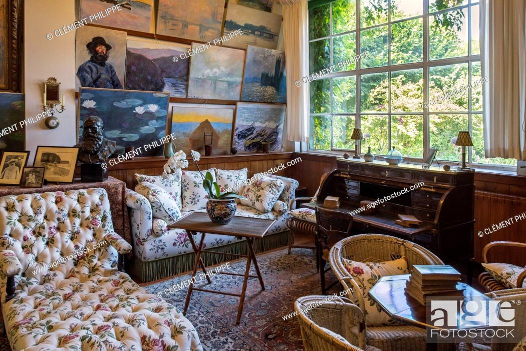 Stock Photo Living Room Studio In The House Of Claude Monet Painter And Founder French Impressionist Painting At Giverny Eure Department Normandy