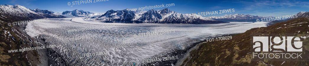 Stock Photo: Panoramic view of glacier and mountains during winter, Knik Glacier, Palmer, Alaska, USA.