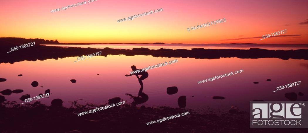 Stock Photo: Woman in Tidepool at Acadia National Park Maine.