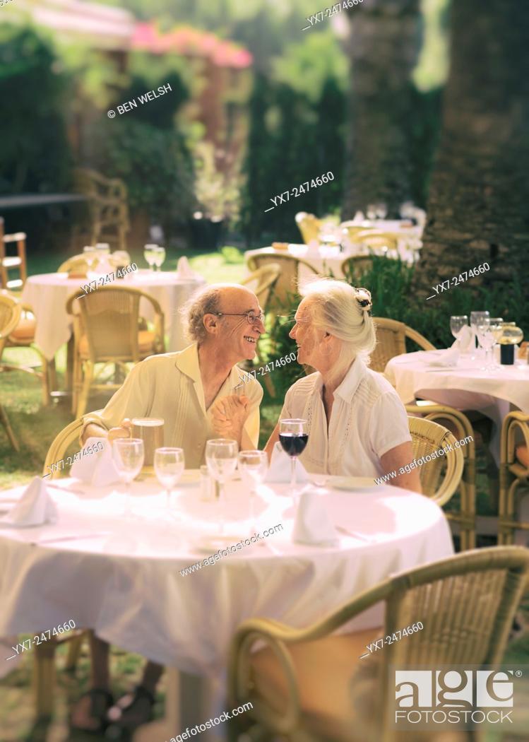 Stock Photo: Senior couple at a restaurant.
