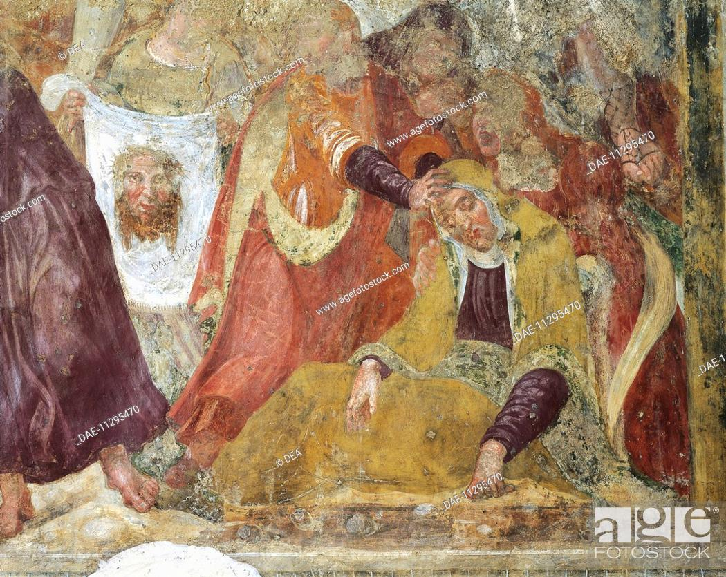 Stock Photo: The Pious Women with Sudarium and Shroud, 15th-16th fresco in the Baptistery of St John of the Church of Santa Maria Extra Moenia, Antrodoco.