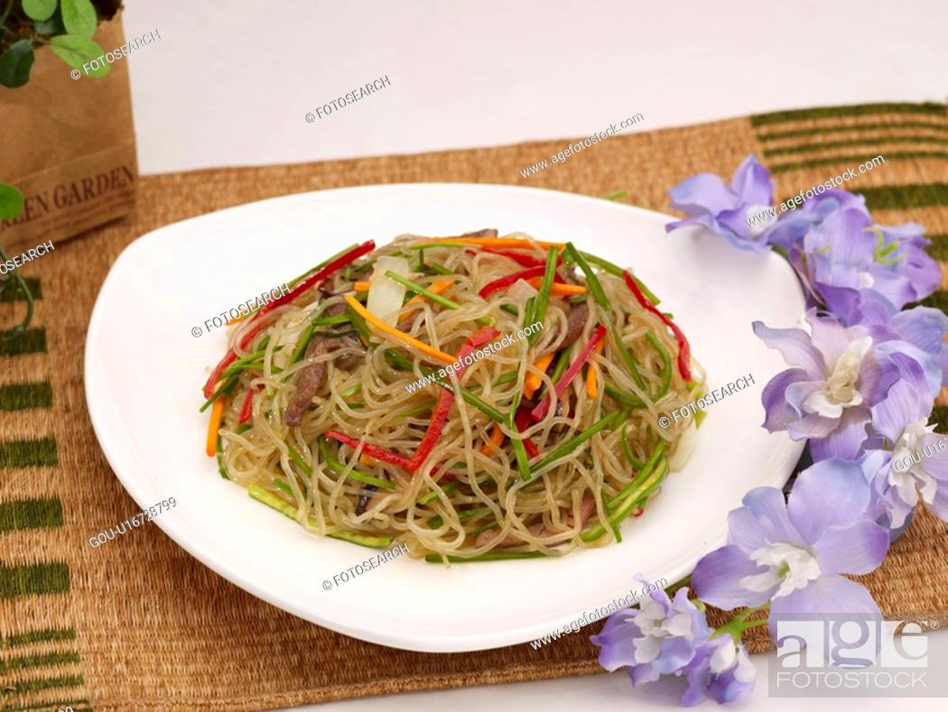 Stock Photo: food, food styling, flower, table mat, decoration, noodle with vegetable.