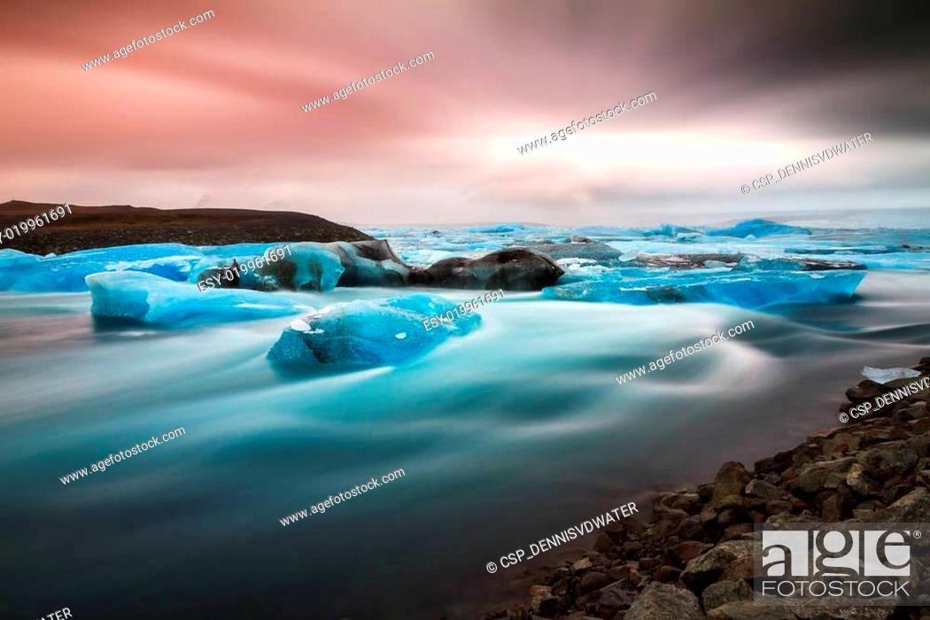 Stock Photo: Iceland river ice.