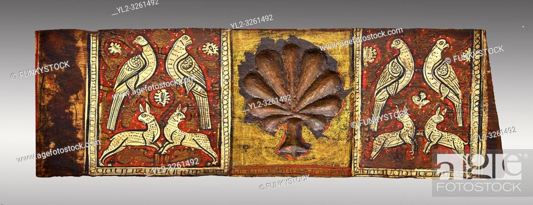 Stock Photo: Gothic decorative painted beam panels with doves, hares and a carved syalise tree, Tempera on wood. National Museum of Catalan Art (MNAC), Barcelona, Spain.