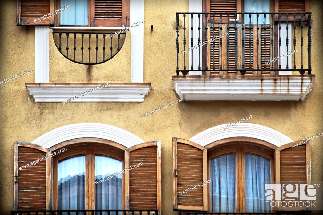 Stock Photo: Facade of an apartment building in the town of Denia, Alicante, Valencia. Spain.