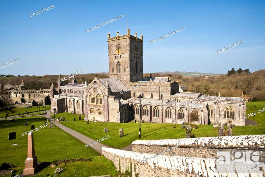 Stock Photo: St. David's Cathedral, built in its present form in 1181, with Bishops Palace in background; St. David, Pembrokeshire, Wales.