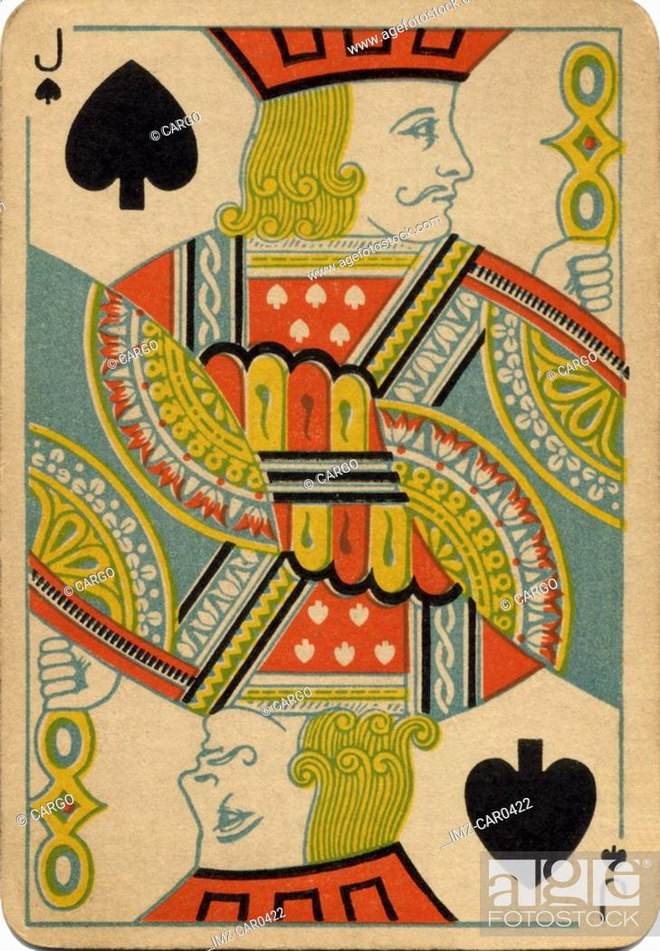 Stock Photo: Jack of Spades vintage playing card.