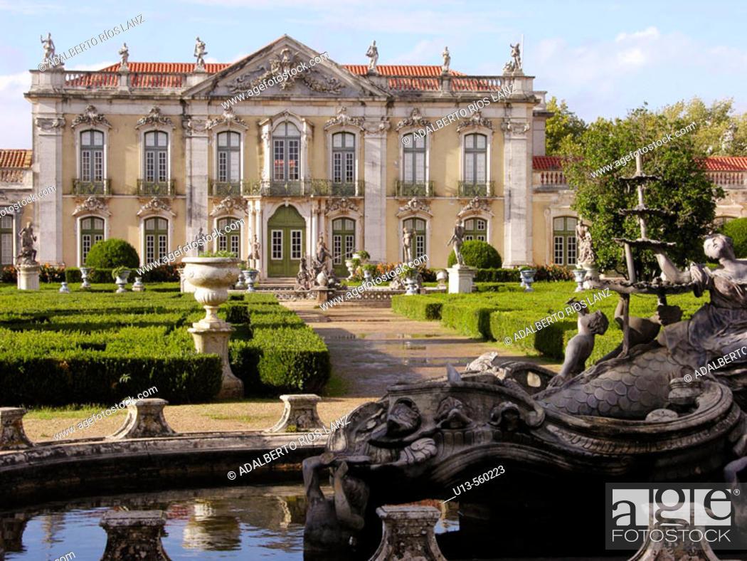 Stock Photo: Ceremonial Facade Room Queluz Palace Gardens Neptune Fountain Lisbon Coast Portugal façade.