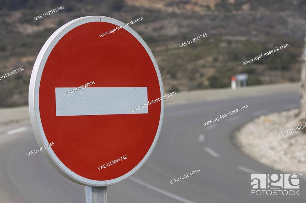 Stock Photo: Circle, Close-Up, Curve, Day, Do Not Enter Sign.