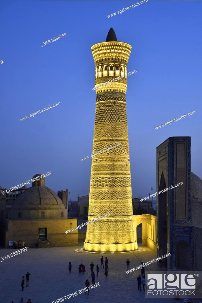 Stock Photo: Uzbekistan, Unesco World Heritage Site, Bukhara, Kalon minaret by night.