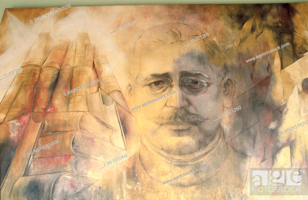 Stock Photo: Mural painting of Salvador Alvarado by Fernando Castro Pacheco. Palacio de Gobierno. Mérida. Yucatán. Mexico.