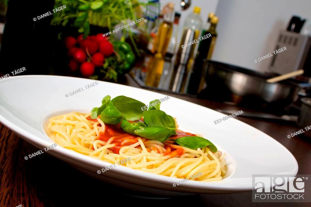 Stock Photo: Pasta tomato basil.