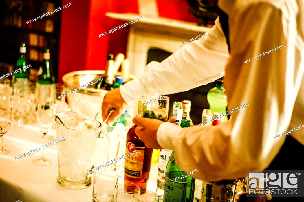 Barman prepares cocktails, Stock Photo, Picture And Rights