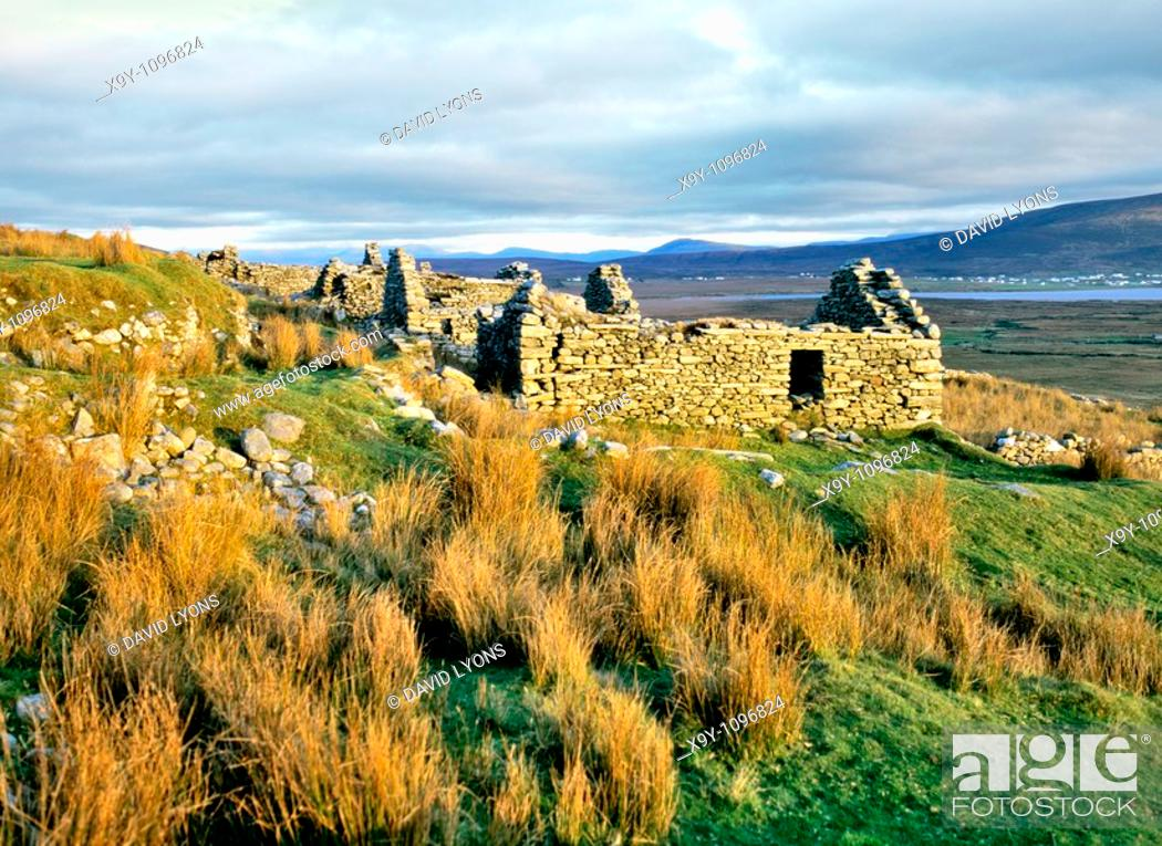 Stock Photo: The ruins of the village of Slievemore on Achill Island, County Mayo, Ireland  Deserted in the years of the Great famine.