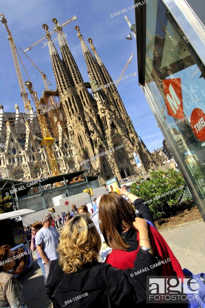 Stock Photo: Sagrada Familia Temple. Antoni Gaudi, Barcelona, Catalonia, Spain.