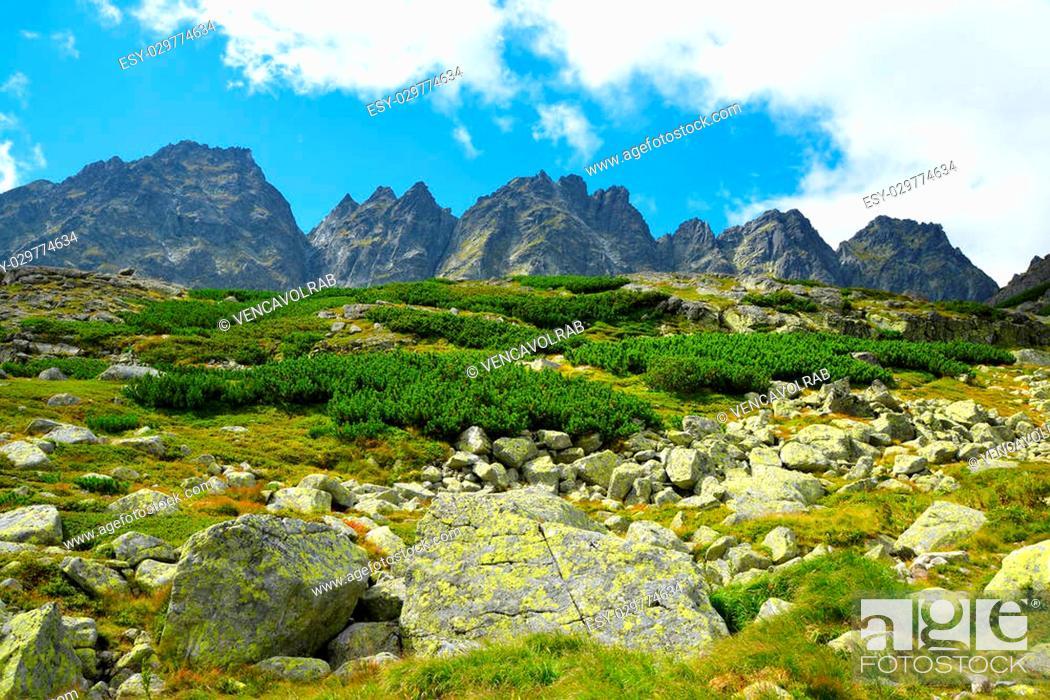 Stock Photo: Mountain ridge Bast. Mengusovska Valley in Vysoke Tatry (High Tatras), Slovakia.