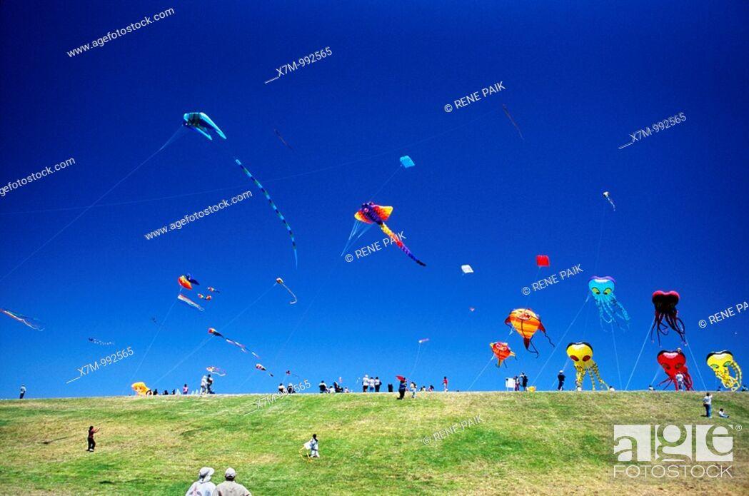 Stock Photo: Giant kites above the hillside at the Berkeley kite festival.