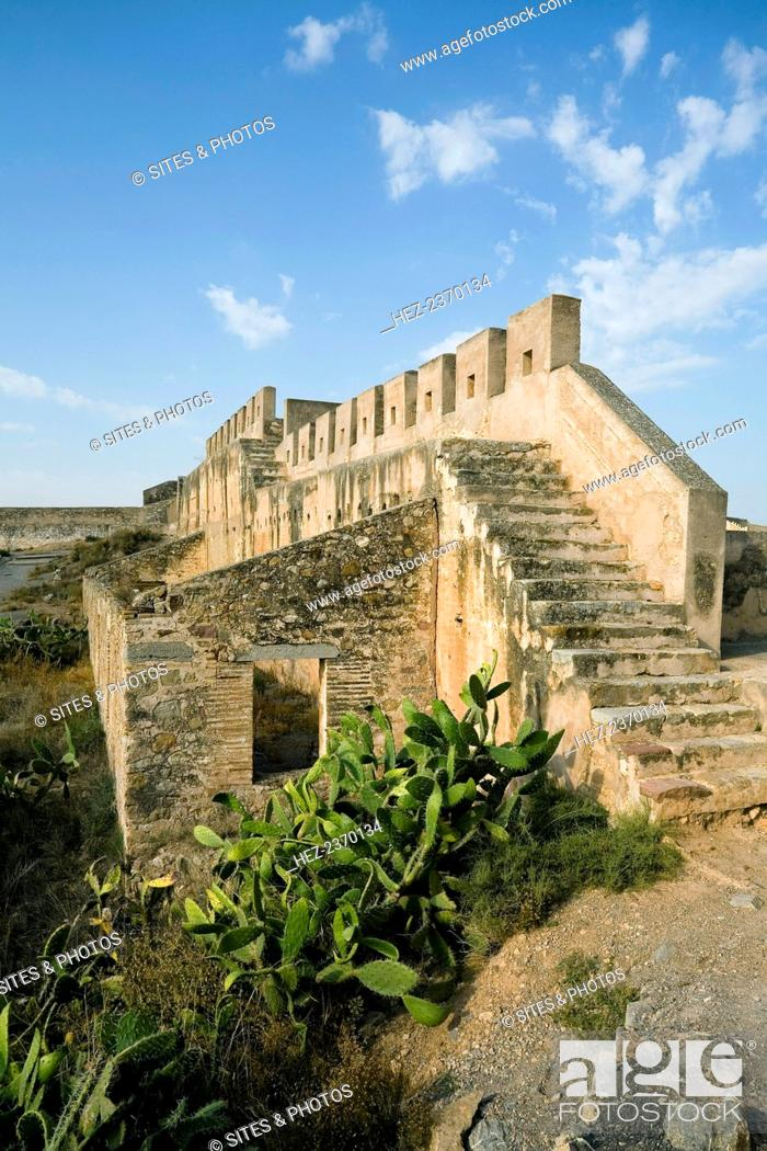 Stock Photo: Ruins of the citadel of Sagunto, Spain, 2007. The first fortifications on the hill above the town of Sagunto, north of Valencia.