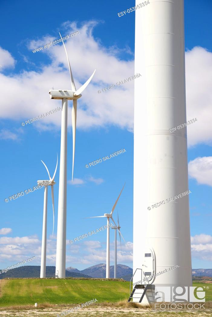 Photo de stock: Windmills for electric power production, Zaragoza province, Aragon, Spain.