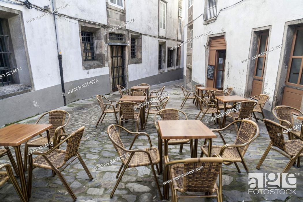 Stock Photo: Street view with terrace bar in historic center of Santiago de Compostela, Galicia, Spain.