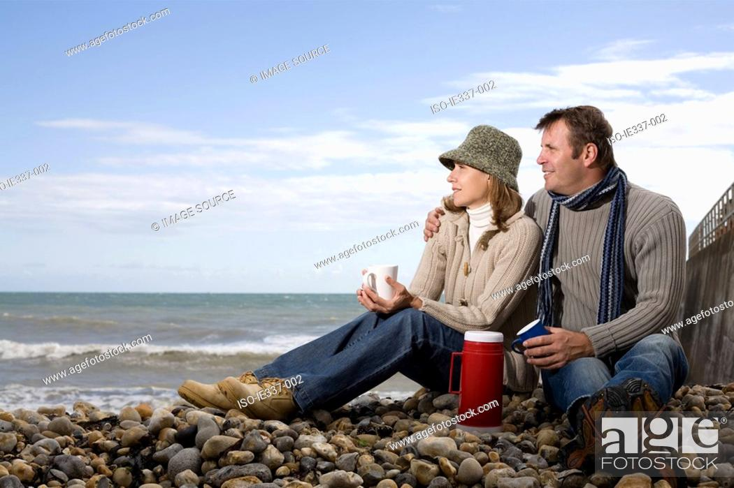 Stock Photo: Couple on a beach.