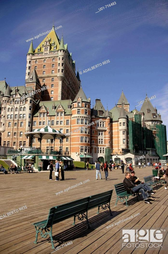 Stock Photo: Frontenac Castle, now a luxury hotel. Quebec City. Canada.
