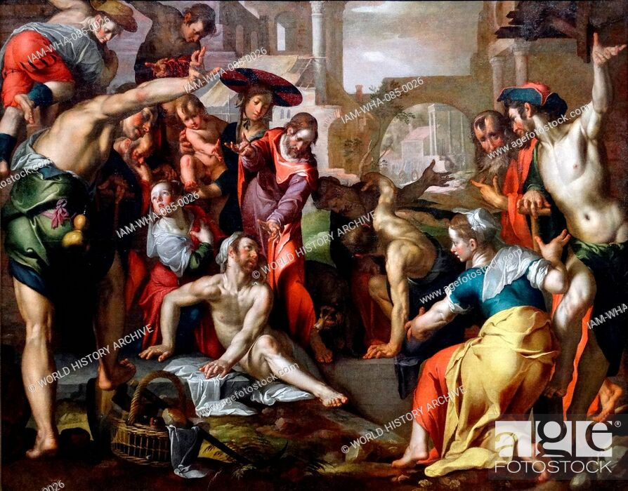 Stock Photo: Painting titled 'The Resurrection of Lazarus' by Joachim Wtewael (1566-1638) a Dutch Mannerist painter and draughtsman. Dated 17th Century.