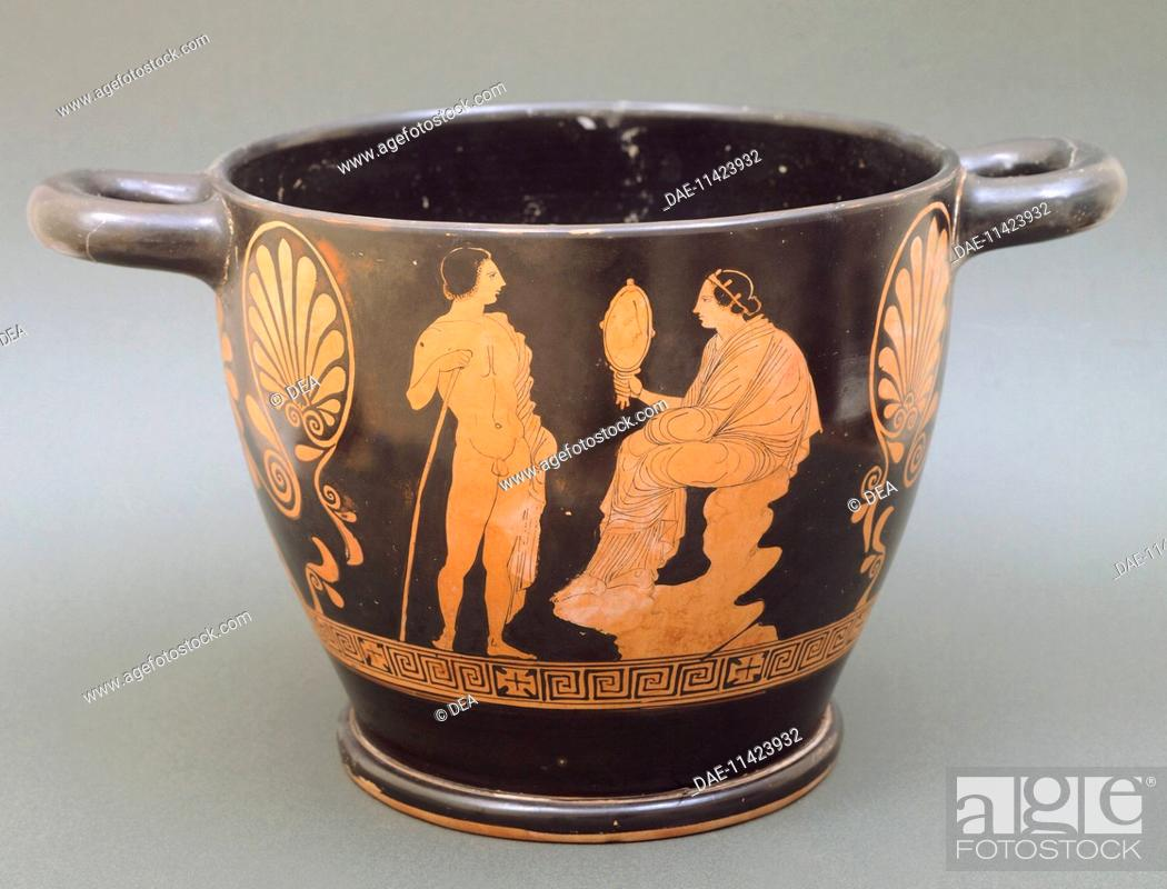 Stock Photo: Skyphos depicting a woman looking into a mirror and a young man, by the Palermo painter, red-figure pottery from Sicily, Italy.