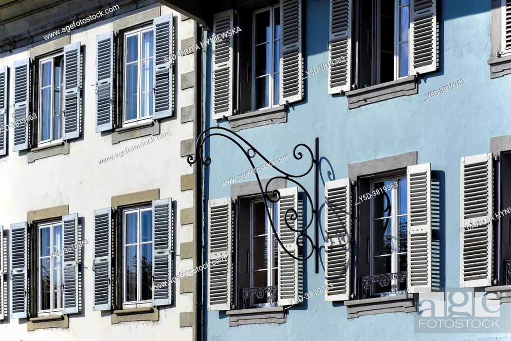 Stock Photo: Europe, Switzerland, Canton Vaud, facades of townhouses along Grand-Rue in center of Rolle, town on shore of Lake Geneva (Lac Léman) between Nyon and Lausanne.