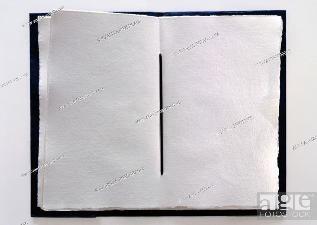 Stock Photo: Handmade book with blank pages, close-up.