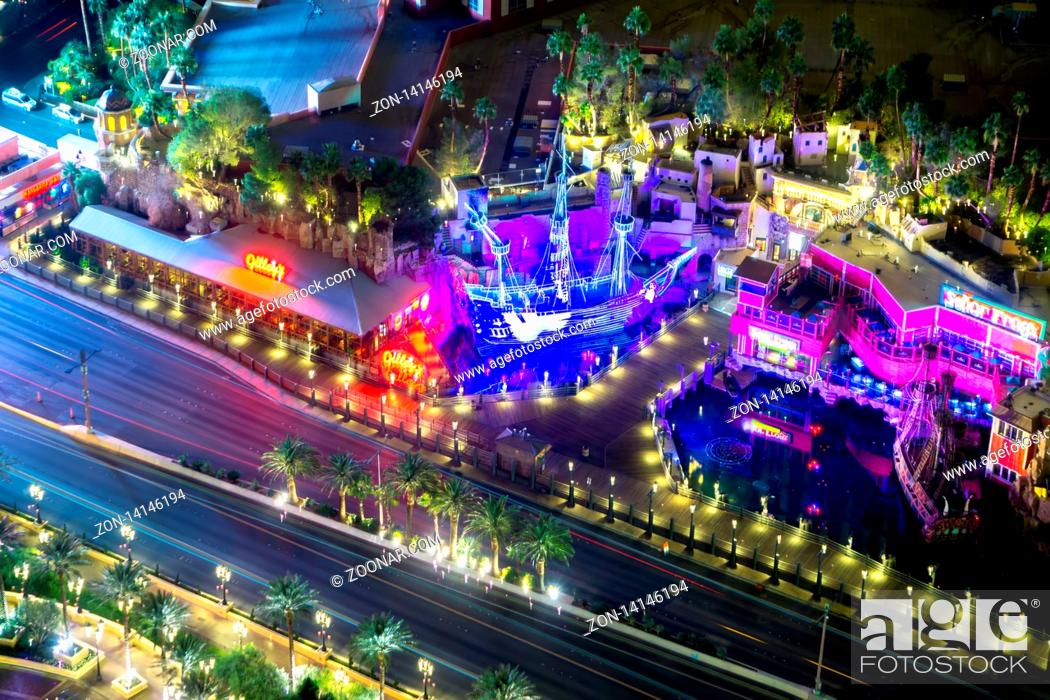 Stock Photo: night time on als vegas strip in nevada.