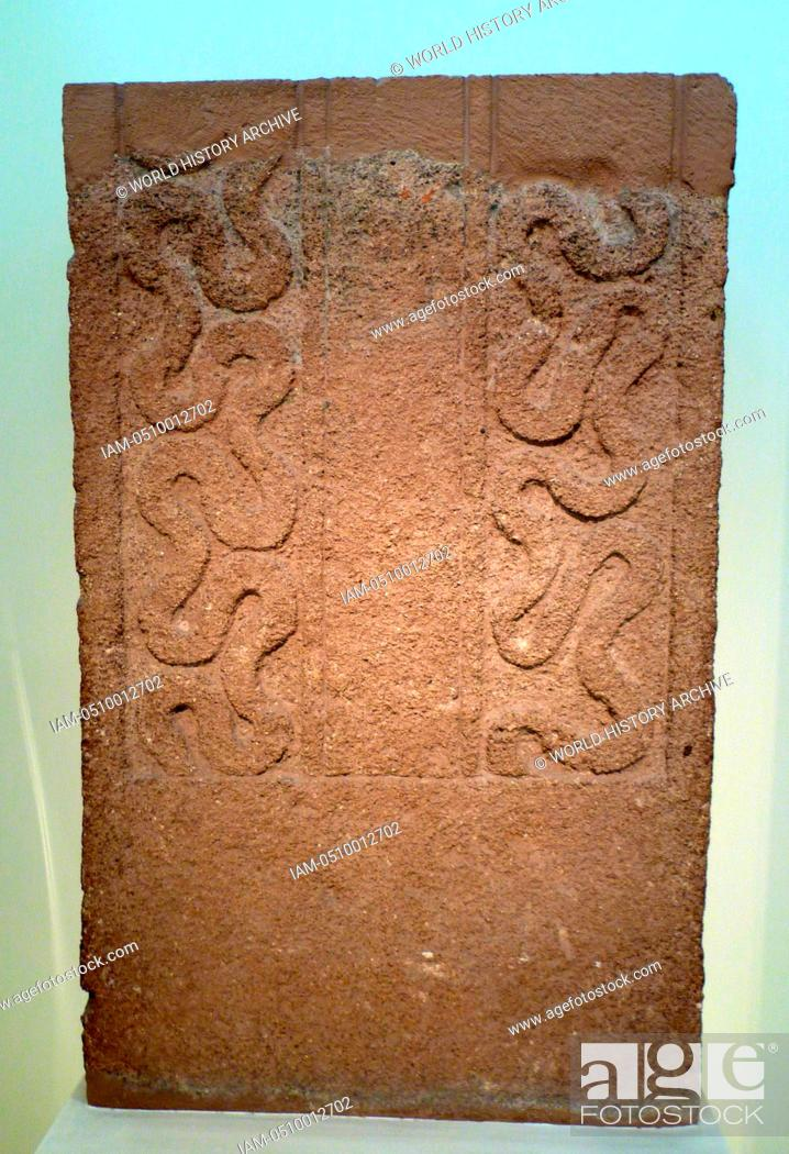 Stock Photo: Funerary Stele made from porous stone with a chariot scene in relief. Mycenae Grave Stele from Grave circle A Grave V, 16th century BC, Greece.