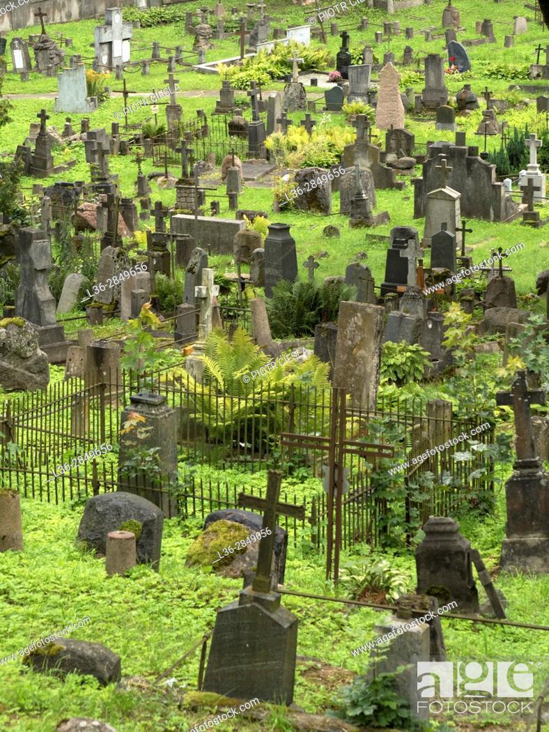 Stock Photo: Lithuania. Vilnius. The Rosa Cemetery.