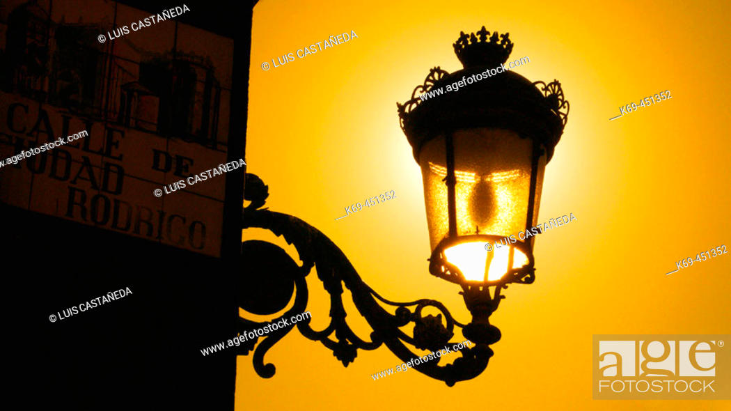 Stock Photo: Street lamp on Main Square, Madrid. Spain.