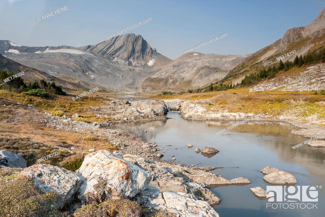 Stock Photo: simple mountain scene in backcountry of Kananaskis Country, Alberta, Canada.