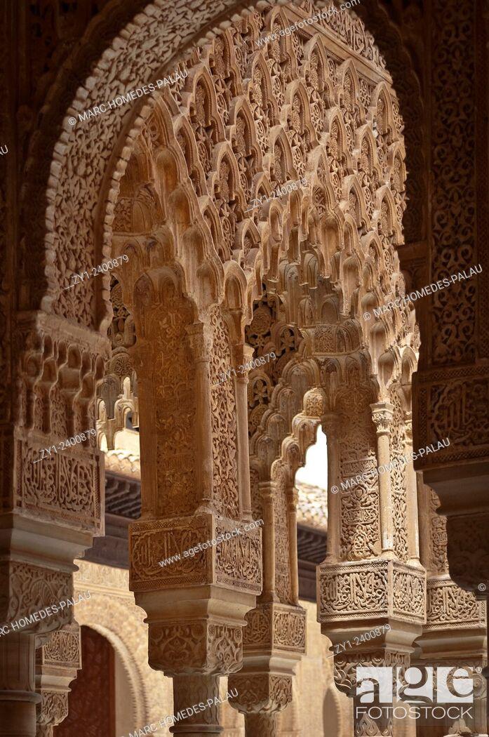 Stock Photo: Court of the Lions (Patio de los Leones) in the Alhambra, Granada. Andalucia, Spain.