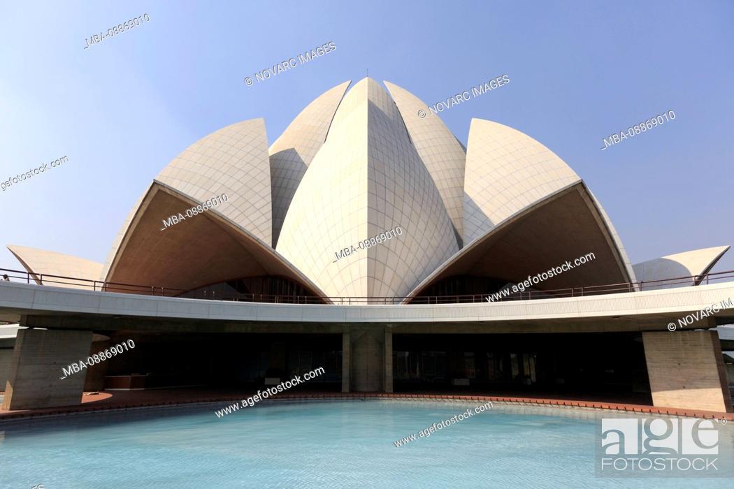Stock Photo: The Lotus Temple, one of the seven Baha'i Temple in Bahapur, New Delhi, Delhi, India.