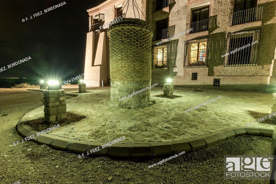 Stock Photo: Nuestra Señora de Magallón Chapel by night, Leciñena, Zaragoza, Aragon, Spain.