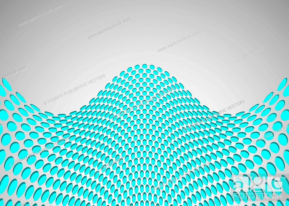 Vector: abstract wave background with metal grill with holes and shadow.