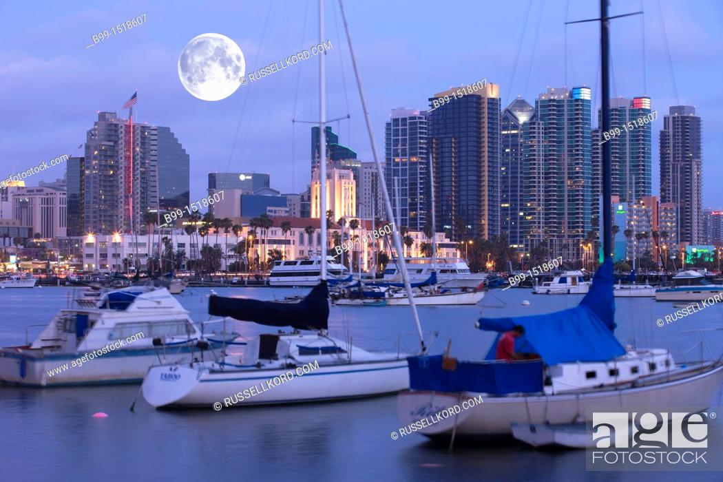 Stock Photo: Embarcadero Skyline Downtown San Diego California USA.
