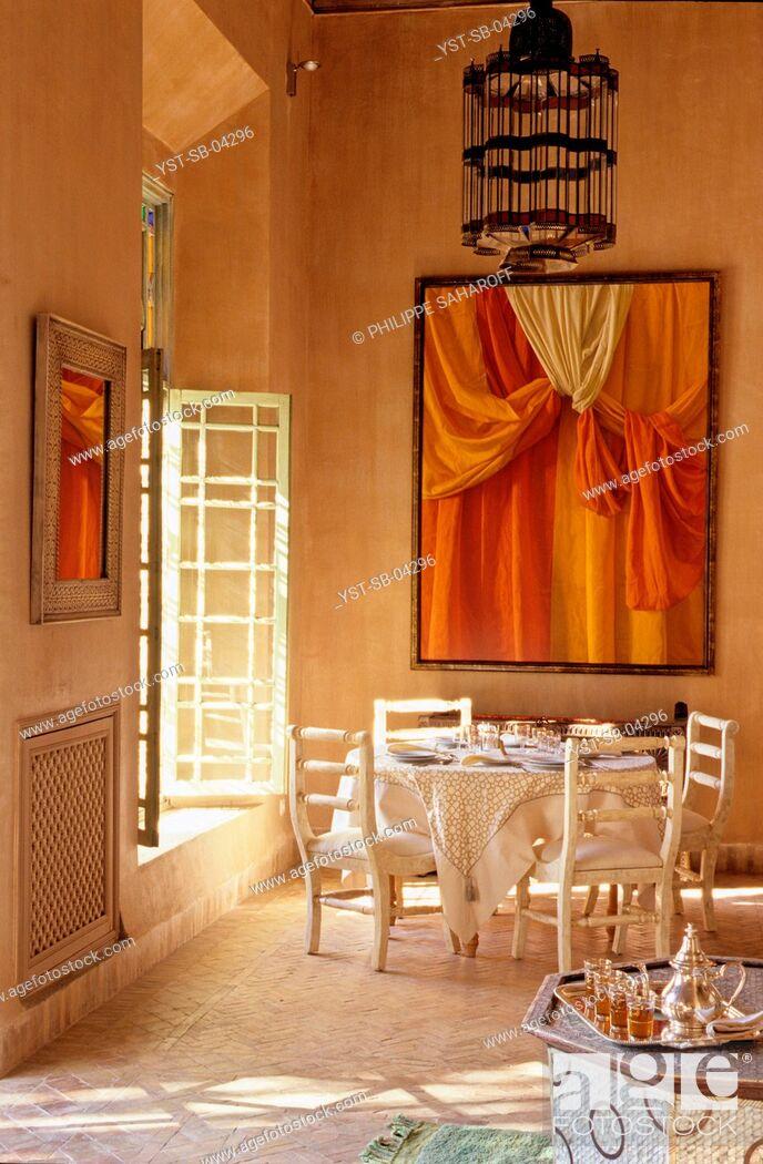 Stock Photo: Dinner room, Marrakech, Morocco, Africa.