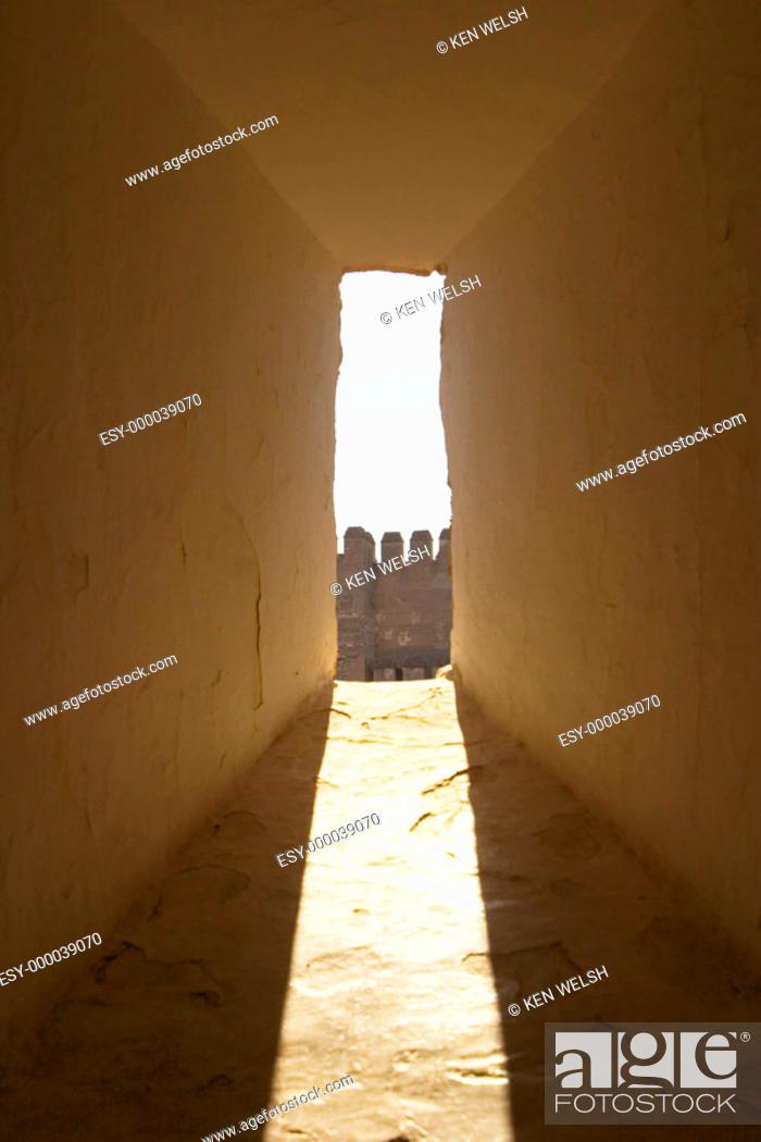 Stock Photo: Battlement seen through window, alcazaba. Granada. Andalusia, Spain.