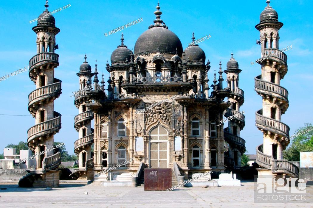 Stock Photo: Mahabat Makbara mausoleum mosque with minaret Junagadh Gujarat India.