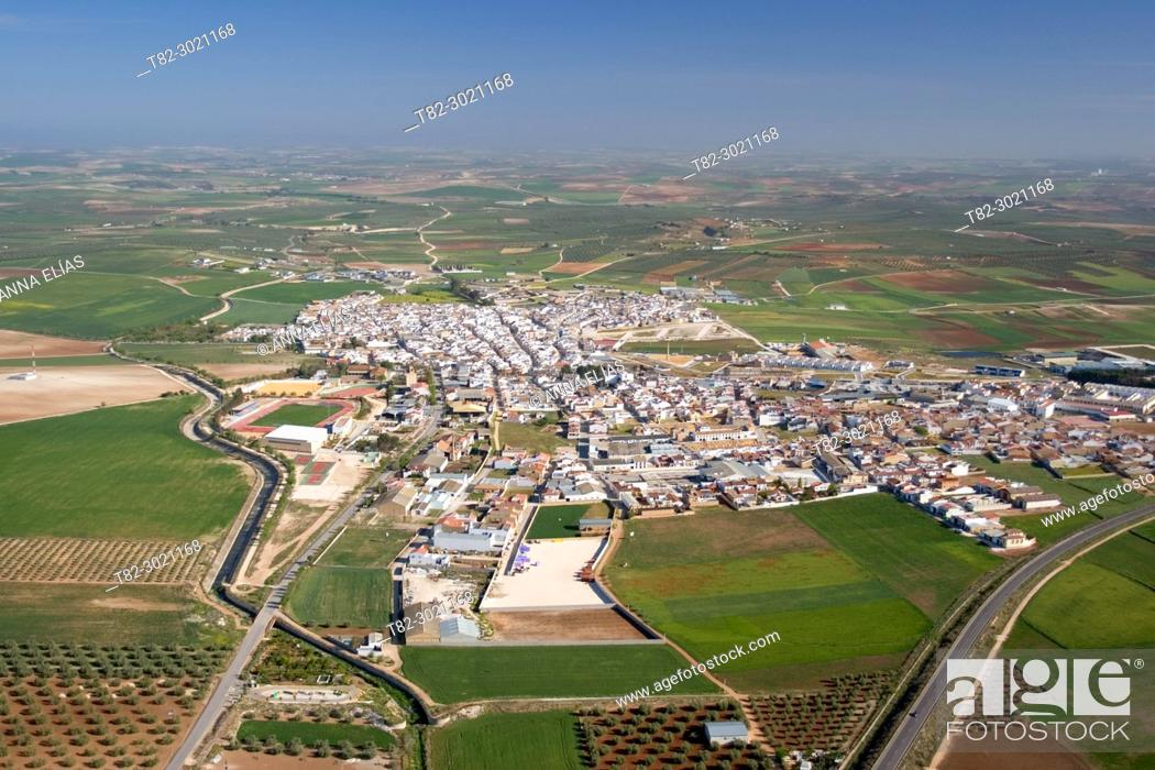 Stock Photo: aerial view andalusian town, Herrera, Sevilla, Andalusia.
