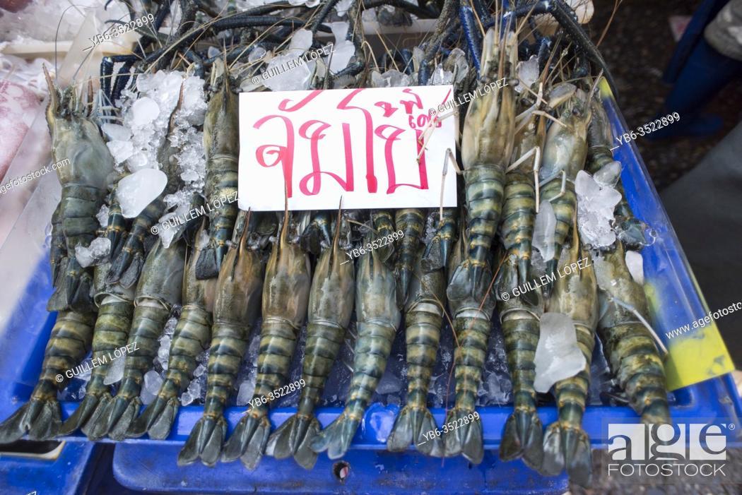 Stock Photo: Shelfish display at the Samut Sakhon fish market, Bangkok, Thailand.