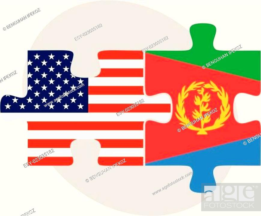 Stock Vector: USA and State of Eritrea Flags in puzzle.