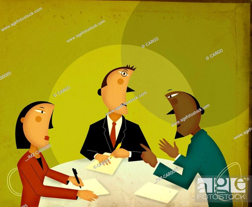 Stock Photo: Three business people having a discussion.